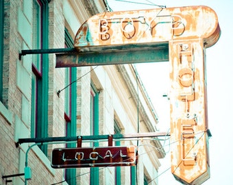 Dallas Texas Neon Sign Vintage Retro - Fine Art Photograph - Boyd Hotel