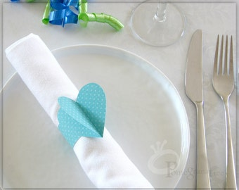 Heart Paper Napkin Rings , Sweet 16 Party Decoration , Valentine's Day Decor , Romantic Table Decor , Turquoise Napkin Rings, Set of 4 HTD06