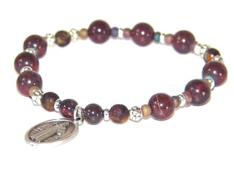 St Benedict Men's Bracelet, Christian Gemstone Bead Stretch Prayer Bracelet
