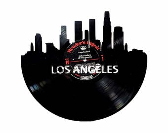 Los Angeles Skyline Vinyl Record Art