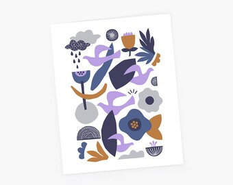 Scandinavian print, landscape print, mid century modern, minimalist art, landscape, colorful wall art, bird, flowers, cloud, scnadinavian