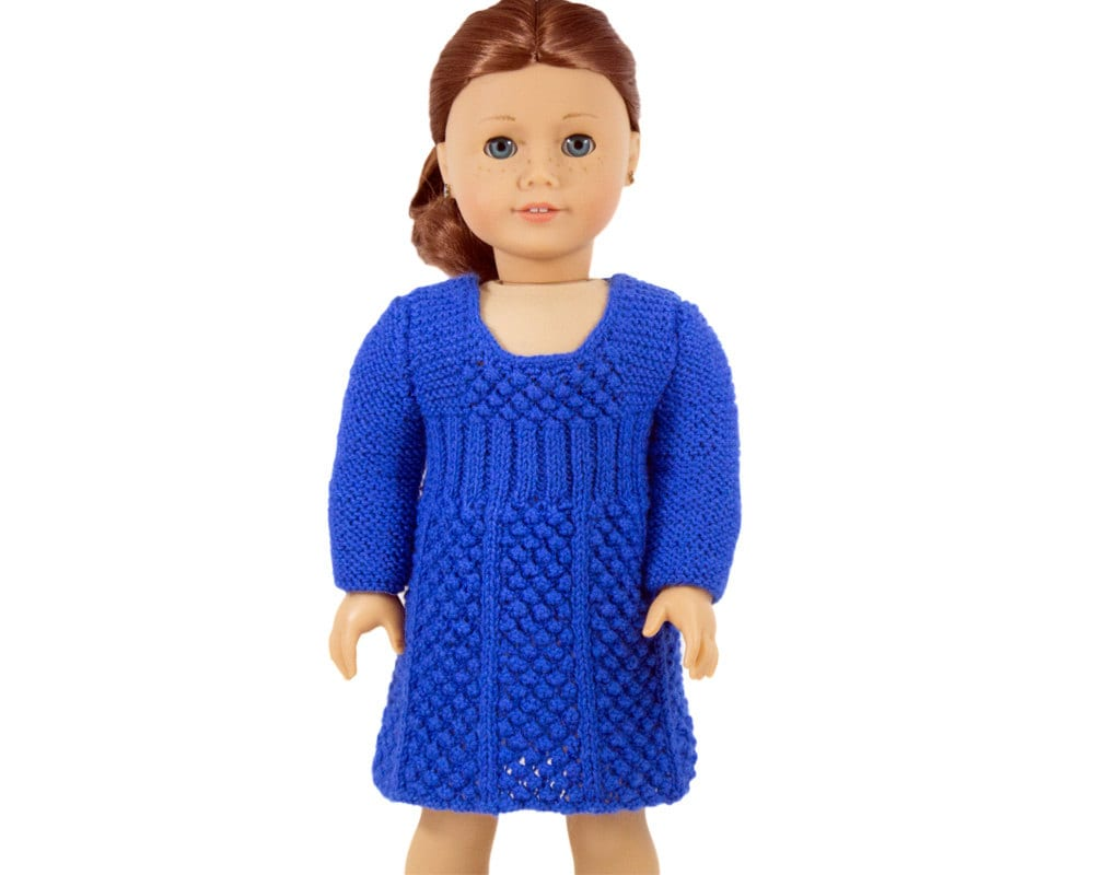 Doll Dress Knitting Pattern, Long Sleeve Dress for 18 inch dolls ...
