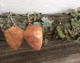 Hammered Copper Geometric Earrings