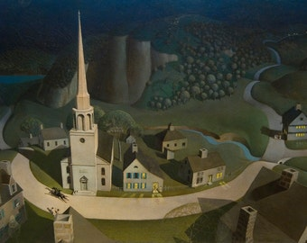 The Midnight Ride of Paul Revere by Grant Wood Home Decor Wall Decor Giclee Art Print Poster A4 A3 A2 Large Print FLAT RATE SHIPPING
