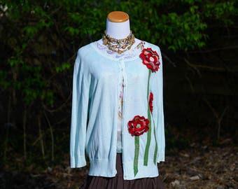 Boho Gypsy Clothing Sweater • Hippie Boho Clothes • Womens Gypsy Cardigan Sweater • Boho Sweater Womens • Upcycled Clothing • Size Large