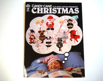 Candy Cane Christmas Ornaments Plastic Canvas Patterns Santa Claus Angel Elf Bunny Mouse Raccoon Dog Brown Bear Panda Ponies Cat HOTP 332