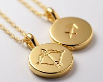 Zodiac Necklace -Sagittarius-, Zodiac Jewelry, Zodiac Charms, Astrology Necklace, thick disc, Constellation