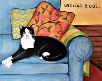 Cat painting - Original acrylic on canvas black & white tuxedo cat at home on couch, bright, colorful, cozy scene