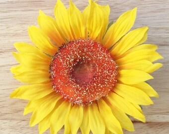 Sunflower hair flower clip