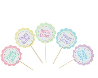 12 Happy Easter Cupcake Toppers - Easter Party Decorations - Pastel Party Decorations