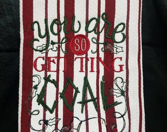 EMBROIDERED Kitchen towel with funny Christmas saying