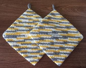 Crochet Hot Pads, Variegated Pot Holders, Crochet Pot Holders, Cream, Yellow, Gray, Housewarming Gift, Kitchen Gift, Handmade, Bridal Shower
