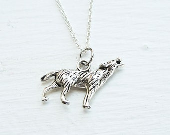 Wolf Necklace- Nature Animals- Woodland Charm Jewelry- 925 Sterling Silver or silver Tone Chain- Rustic Wedding- Love- Fashion Trends