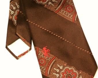 Vintage 1970s Necktie by Bronzini - Brown Polyester Tie - Retro - Vintage Wide Necktie - Retro Men - 1970s Men's Fashion