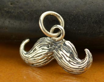 Sterling silver mustache charm or pendant. Add to your necklace bracelet or key ring.