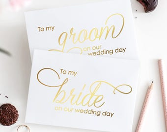 To my groom card & To my bride card (set) - To my groom on our wedding day - To my bride on our wedding day - Foil wedding cards - WC004