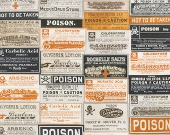 Tim Holtz - Materialize- Apothecary Poison Halloween Witch Wizard Halloween Magic Fabric PWTH072 BTY
