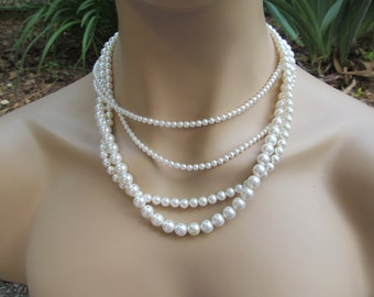 Bridal Pearl Jewelry Set Multi Strand Necklace White Pearls Swarovski Pearl Necklace & Earrings Wedding Jewelry
