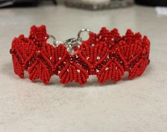 Valentine Hearts MicroMacrame Red Beaded Bracelet