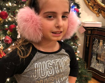 Fox ear muffs with 12 inch velvet band