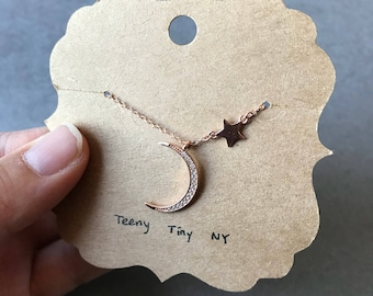 Rose Gold Crescent Moon (CZ) and Star Necklace - Rose Gold plated over Sterling Silver [RGN1013]