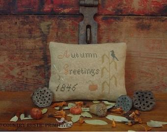 Primitive Autumn Greetings 1846 Pinkeep Sampler Cross Stitch E Pattern PDF