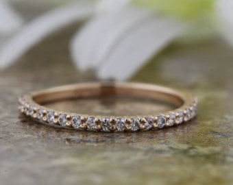 SPECIAL!! 1.4 mm Half Eternity Band, Micro Pave Band, in 14K Rose Gold, Thin Wedding Band, Anniversary Band, Wedding Band, Eternity Band