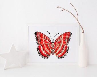 landscape, art print, red butterfly, wall art, cethosia biblis art print