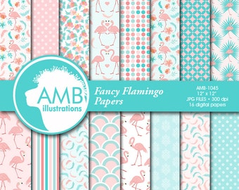 Flamingo Digital Papers, Floral Digital Papers, Pink Flamingos, Shabby Chic, Tropical Scrapbook Papers and Backgrounds, AMB-1045