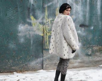 JORDACHE 1980's Faux Lynx Fur Coat, Deluxe Oversize Glamour Statement