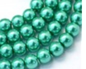 Glass Pearl Beads - 42 pc - 8mm - Light Sea Green Pearls - Green Beads - Green Pearls - Round - Dyed  - 8mm Green Pearls