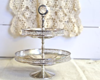 Silver plated compote 2 tiered candy dish from Italy