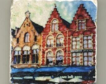 Brugge Town Square, Belgium - Original Coaster