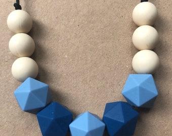 Teething Necklace Fiddle/Sensory  - Boho Blue