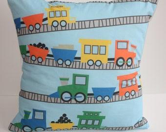 Train Pillow Cover, nursery decoration, train pillow, boy's room, bedding, pillowcase, railroad, blue pillow
