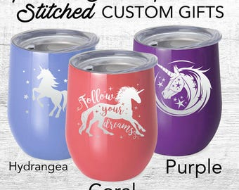 Unicorn  Custom travel mug, Powder Coated  engraved  with lid, Fantasy Themed, Swig Stainless Steel Tumbler girls, toddler cup, kids cup