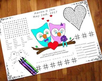 Owl Kids Wedding Activity Page PDF. Custom Favor, Placemat. Your Names & Date. Coloring Book, Guest, Children Entertainment.