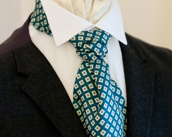 Teal Blue Diamond Pattern Vintage Italian Silk Cravat Ascot