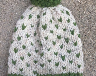 Chunky Knit Fair Isle Hat / Chunky Knit Pom Pom / Ribbed Knitted Hat / Knitted Heart Slouch Toque / Handmade Winter Accessory