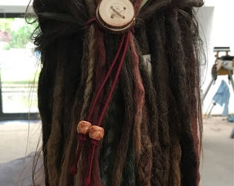 Dreadlock Hair Tie Elasticated with Wood Button