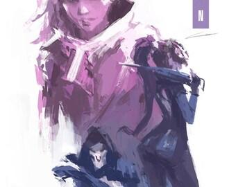 Sombra Art Print (Overwatch) // Two Variations // Gamer Gifts // Talon: Sombra, Reaper, Widowmaker