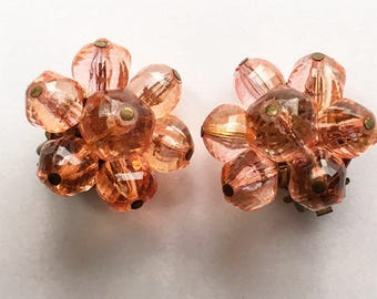 Cute pink bead clip on earrings, made in West Germany