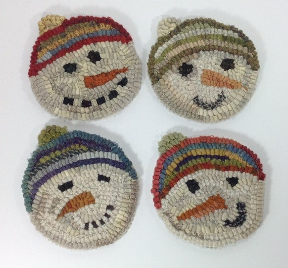 Rug Hooking PATTERN, Snowmen Mug Rugs, J858, Primitive Snowmen Design,  Folk Art Coasters, DIY Rug Hooking mug rugs