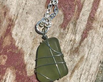 Unique Olive Green Sea Glass Necklace  - Natural Sea Glass, Beach Glass, Necklace, Wire Wrapped, Green Sea Glass, Sea Glass Jewelry