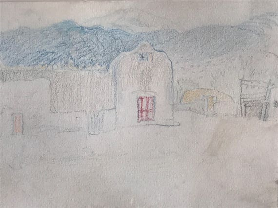 1921 Olive Rush Pueblo Sketch (Santa Fe)
