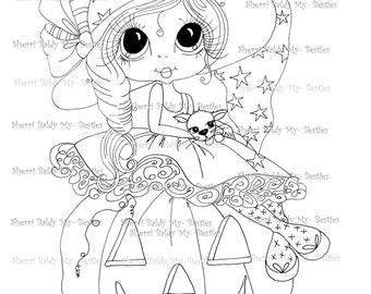 INSTANT DOWNLOAD Digital Digi Stamps Big Eye Big Head Dolls Digi Besite Trixie And Her Kitty Named Spider By Sherri Baldy