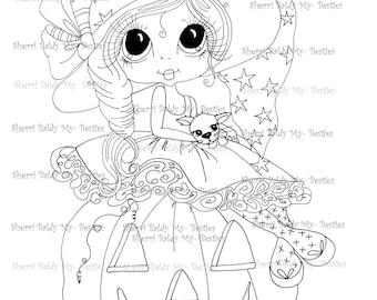 INSTANT DOWNLOAD Digital Digi Stamps Big Eye Big Head Dolls Digi Besite Trixie And Her Kitty Named Spider By Sherri Baldy
