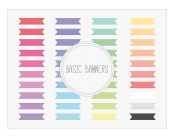 Basic Ribbon Banners Clip Art - Colorful PNG Elements, Graphics, Embellishments for Web and Blog Design, Scrapbooking, Invites, Cards...