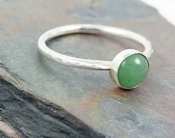 6mm Aventurine Ring, Stacking Ring, Minimalist Ring