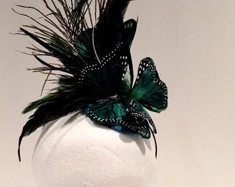 Butterfly headband- butterfly Fascinator- Butterfly headdress- Green butterfly- Mad hatter- Royal Wedding- Kentuckey Derby style- Fascinator